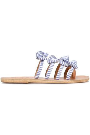 ANCIENT GREEK SANDALS Hara leather-trimmed bow-embellished striped twill slides
