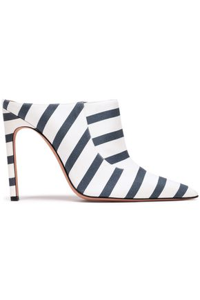 ALTUZARRA Davidson striped cotton-blend twill mules