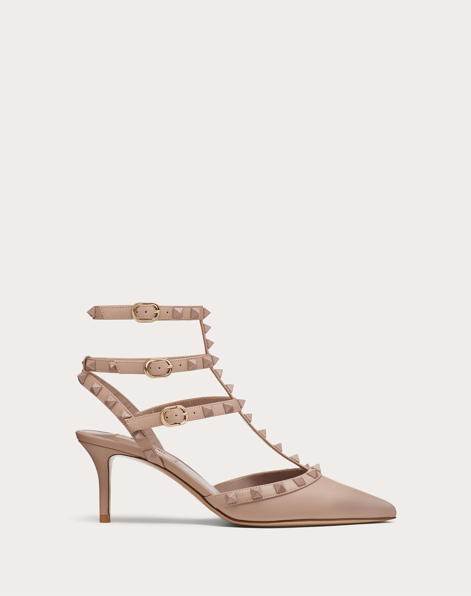 Rockstud Ankle Strap Calfskin Leather Pump with Tonal Studs 65 mm