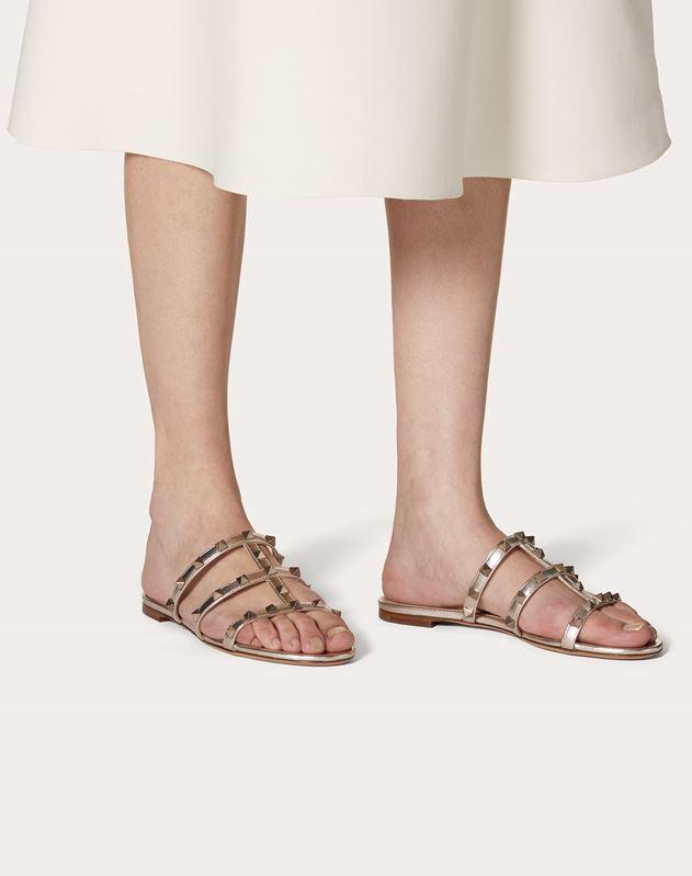 Rockstud Flat Metallic Nappa Slide Sandal