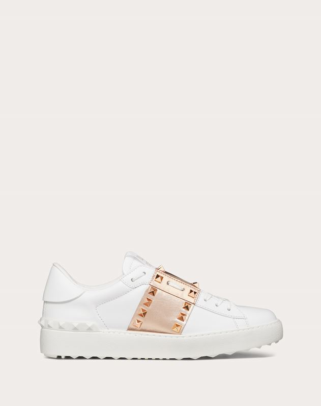 Rockstud Untitled Sneaker in Calfskin Leather with Metallic Stripe