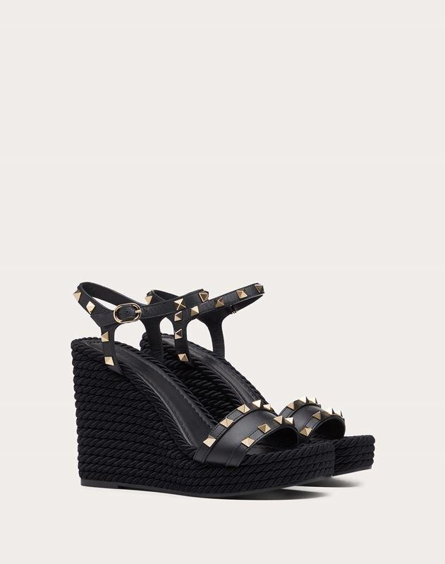Calfskin Studded Wedge Sandal 115 mm