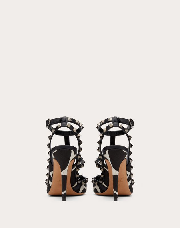 Rockstud Giraffe Print Canvas Pump with Straps 100 mm