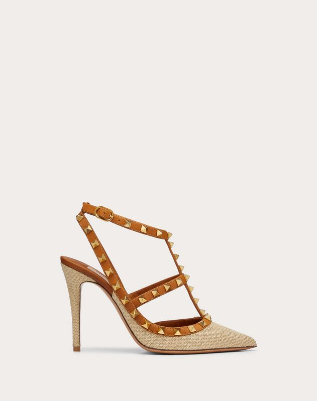 Rockstud Raffia Pump with Straps 100 mm