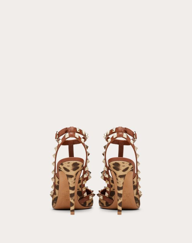 Rockstud Leopard Print Canvas Pump with Straps 100mm