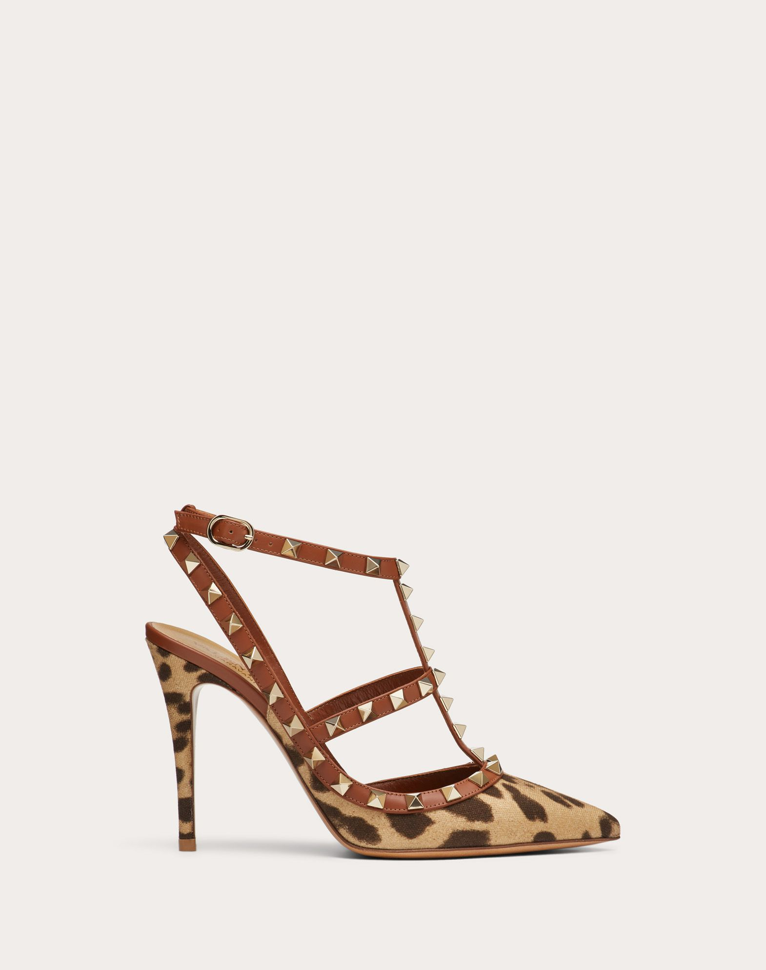 Rockstud Leopard Print Canvas Pump with Straps 100 mm