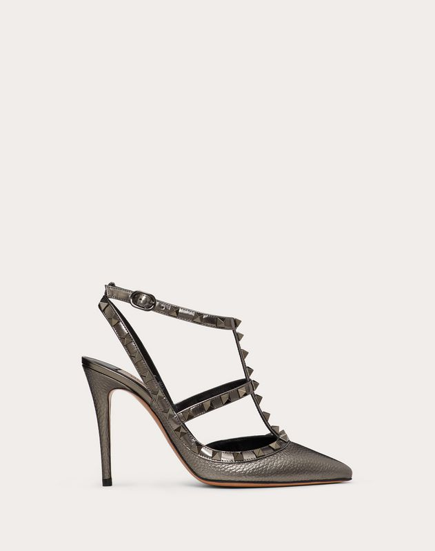 Rockstud Laminated Elk-Print Calfskin Pump with Straps 100 mm
