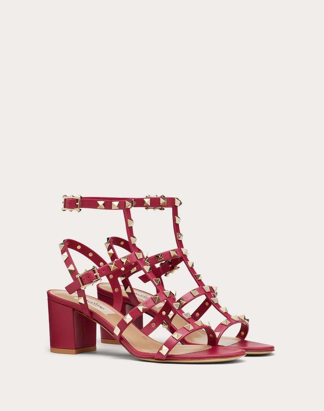 Rockstud Calfskin Ankle Strap Sandal 60 mm