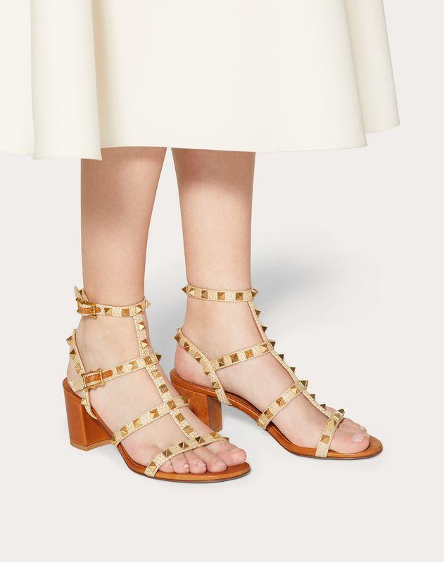 Rockstud Raffia Sandal with Straps and Studs 60 mm