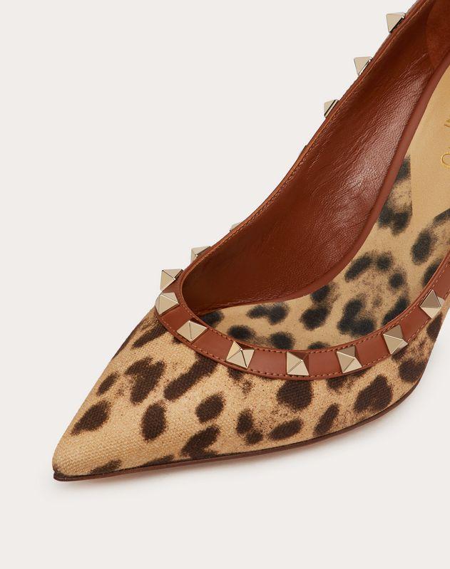 Туфли Rockstud из парусины с леопардовым принтом, каблук 85 мм