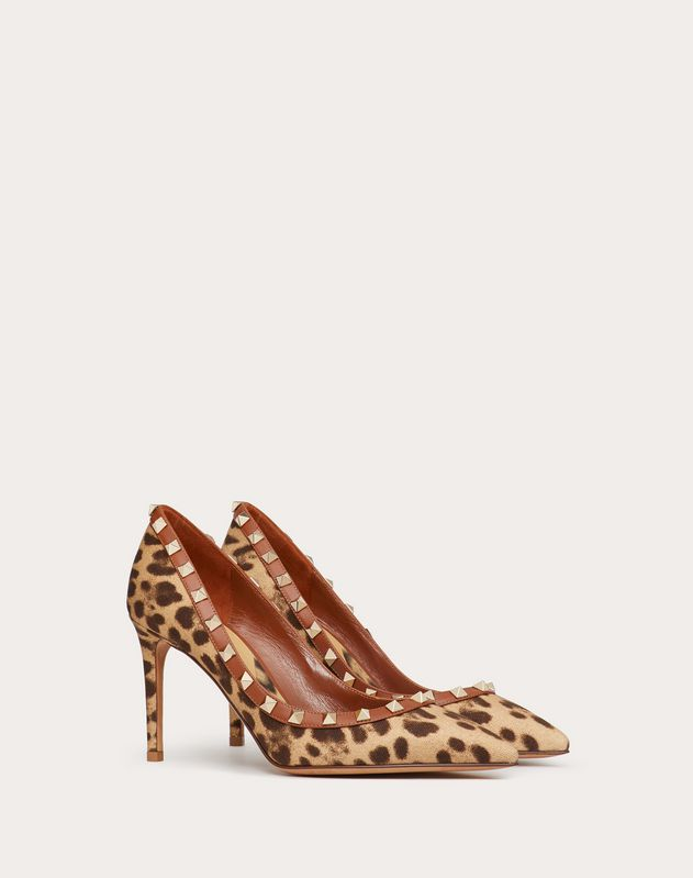 Rockstud Leopard Print Canvas Pump 85 mm
