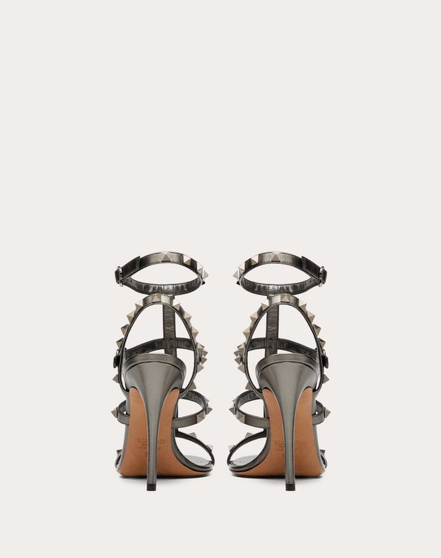 Rockstud  Metallic Calfskin Ankle Strap Sandal 100 mm