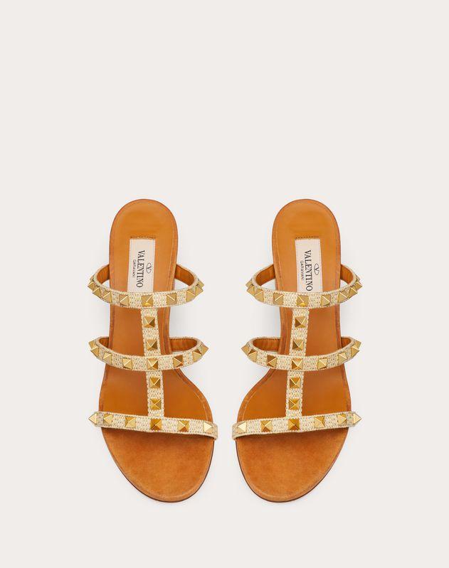 Rockstud Raffia Slide Sandal 60 mm