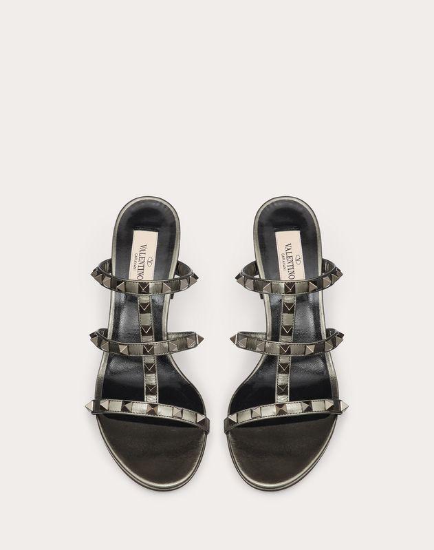 Rockstud  Metallic Calfskin Leather Slide Sandal 60 mm