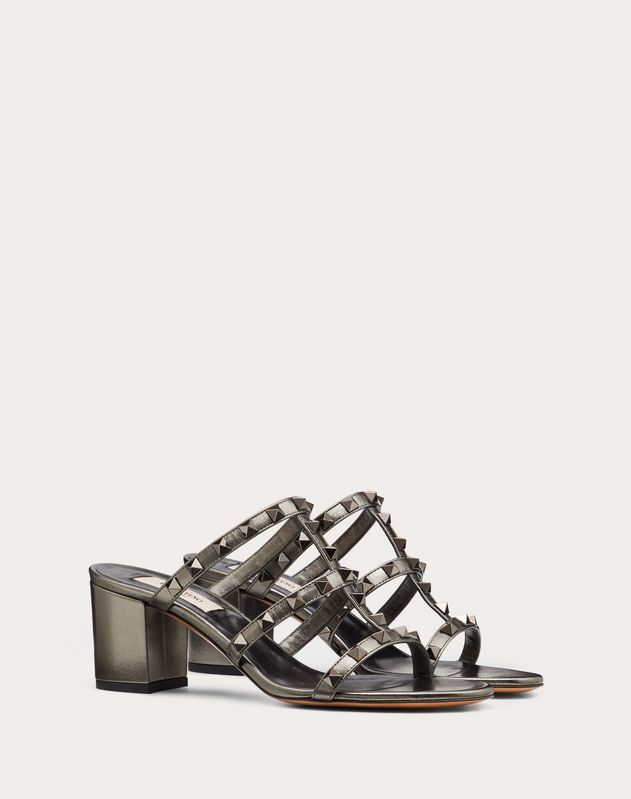 Rockstud Metallic Calfskin Leather Slide Sandal 60 mm
