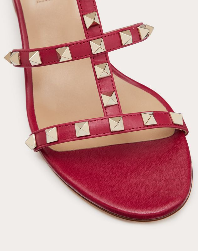 Rockstud Calfskin Slide Sandal 60 mm