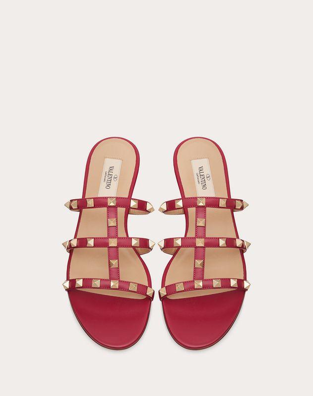 Rockstud Calfskin Leather Slide Sandal