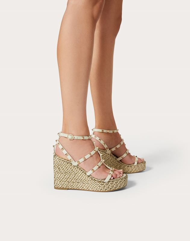 Rockstud Calfskin Wedge Sandal with Straps 95 mm