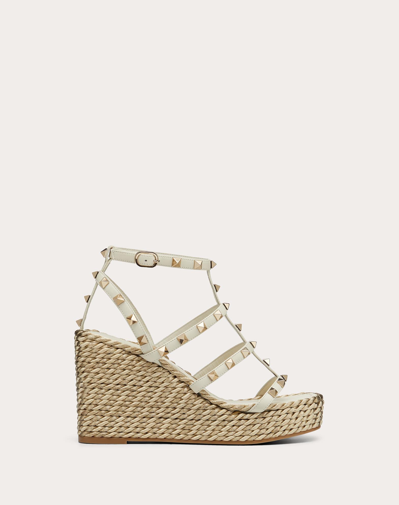 Rockstud Calfskin Wedge Sandal with Straps 95 mm