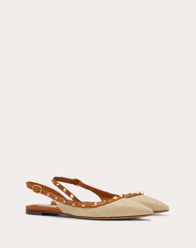 Rockstud Raffia Slingback Ballet Flat