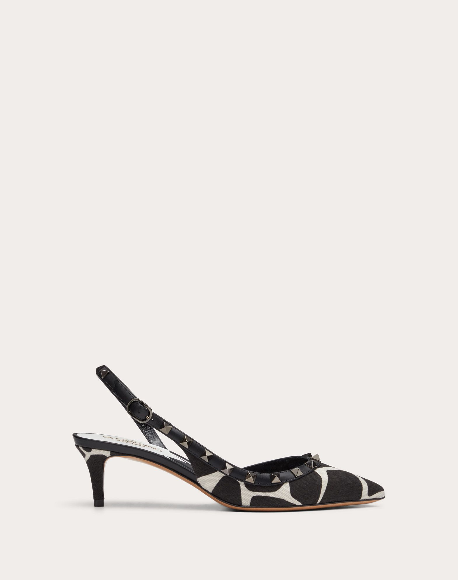 Rockstud Giraffe Print Canvas Slingback Pump 50 mm