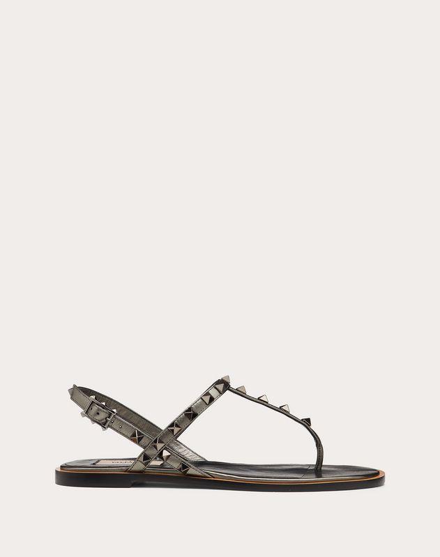 Rockstud Flat Laminated Nappa Sandal