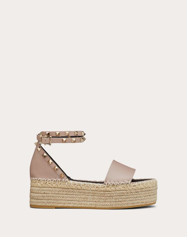Rockstud Double Elk-Print Calfskin Wedge Sandal 50 mm