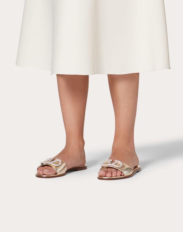 VLOGO Flat Laminated Nappa Slide Sandal