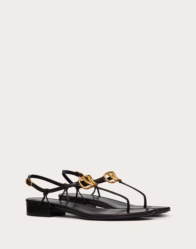 Sandales à entre-doigts VLOGO en cuir de chevreau. Talon: 20 mm