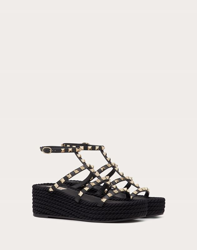 Rockstud Wedge Sandal with Calfskin Straps 55 mm