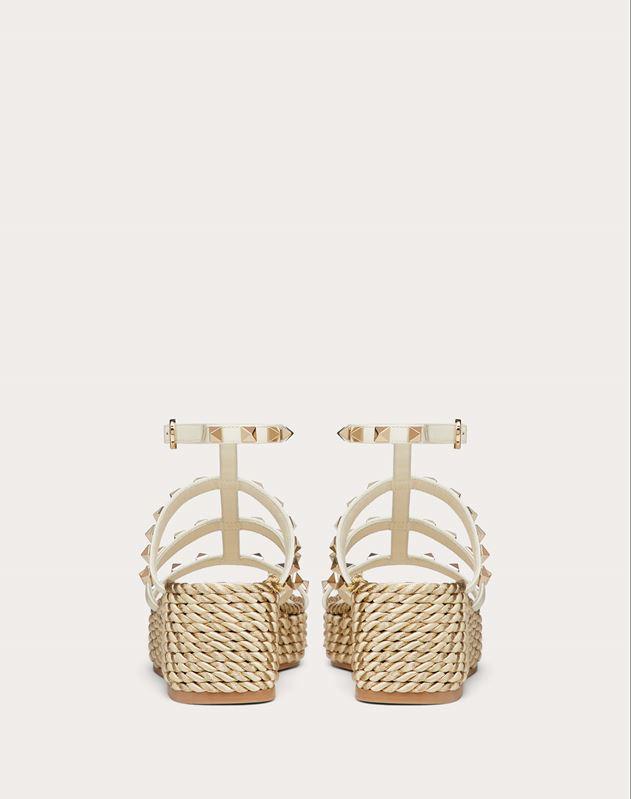Rockstud Wedge Sandal with Calfskin Straps 55 mm