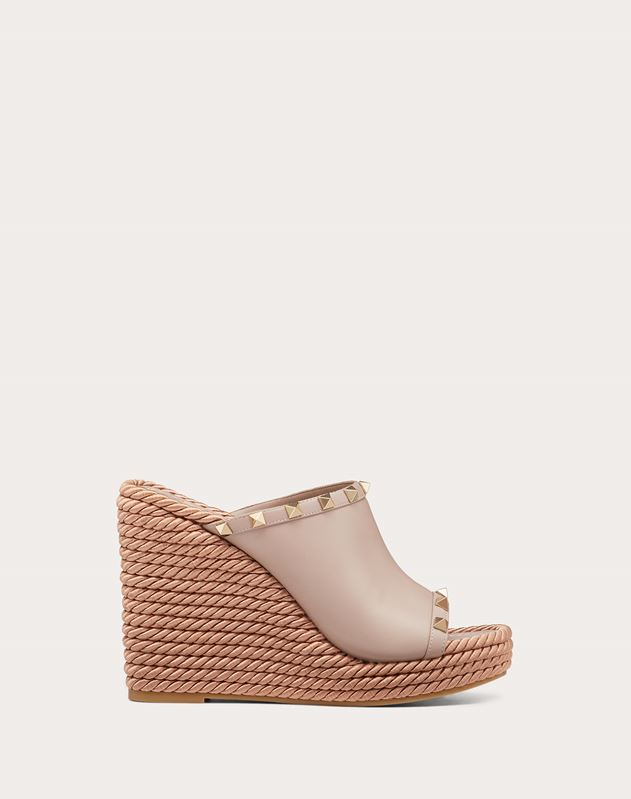 Rockstud Calfskin Wedge Mule 115 mm