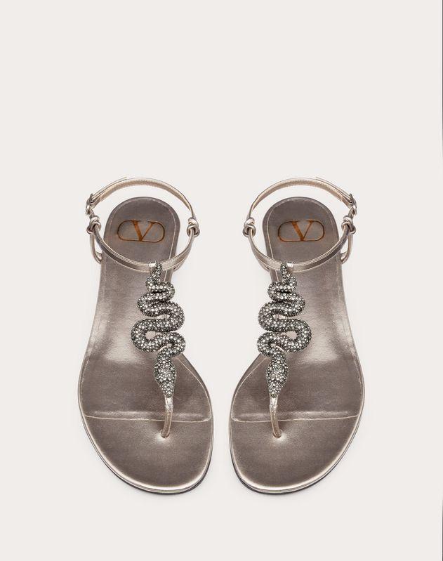 Sandales basses à entre-doigts Serpent en nappa lamé