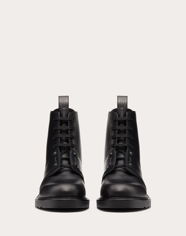 Calfskin Combat Boot with Stripe