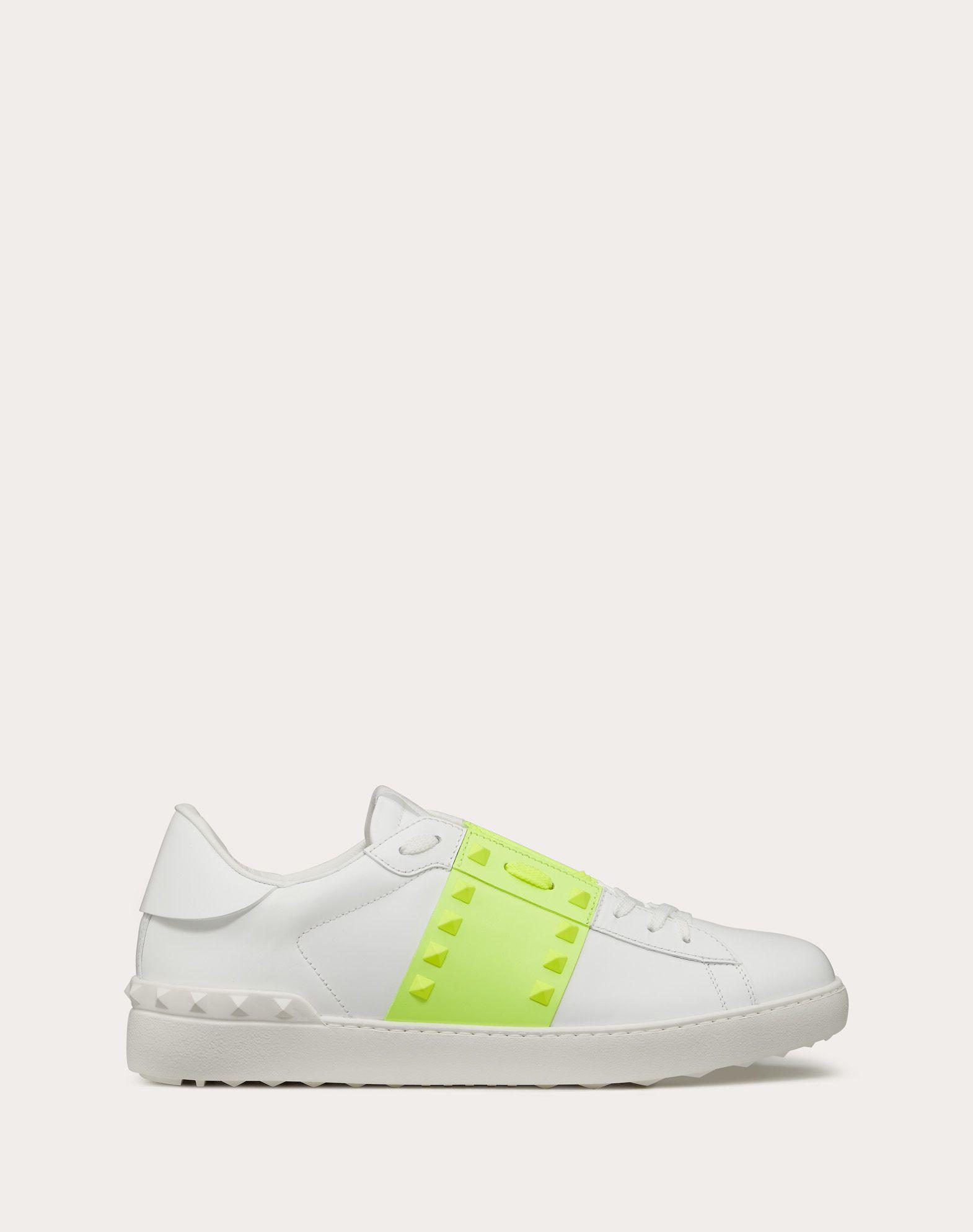 Sneakers Rockstud Untitled aus neonfarbenem Kalbsleder