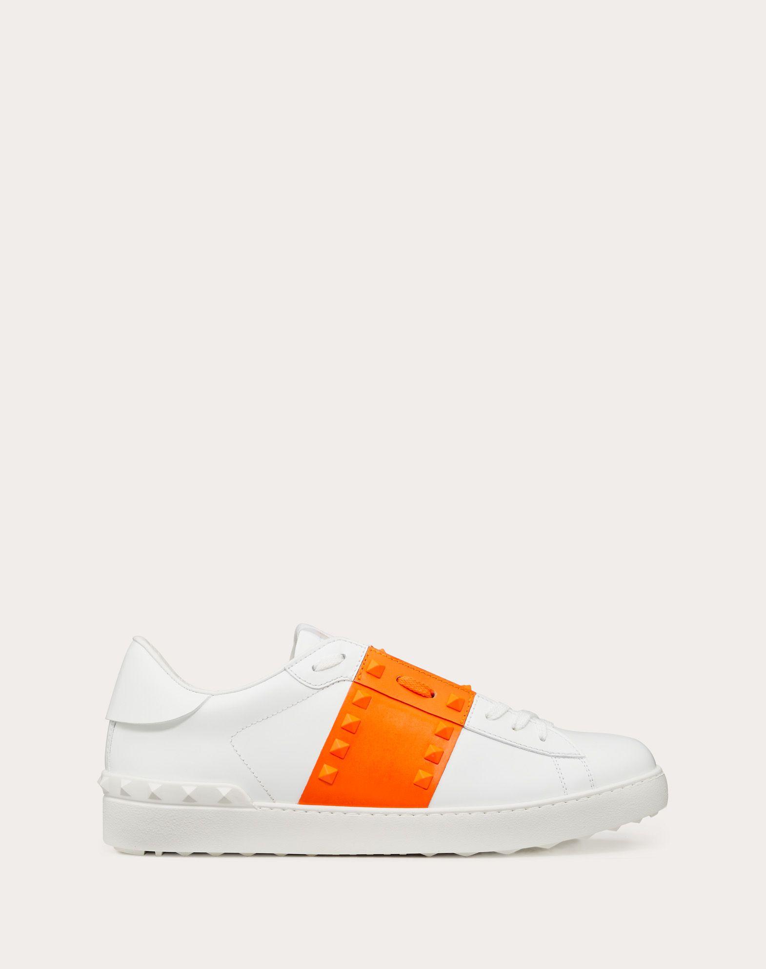 Rockstud Untitled Sneaker in Neon Calfskin