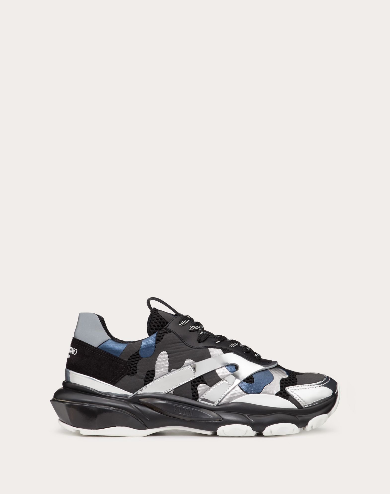 Sneakers Bounce Camouflage aus laminiertem Leder in Spiegel-Optik