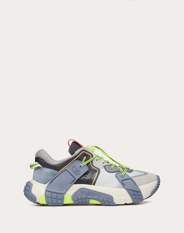 VLTN Wod Sneaker in Fabric, Calfskin and Suede