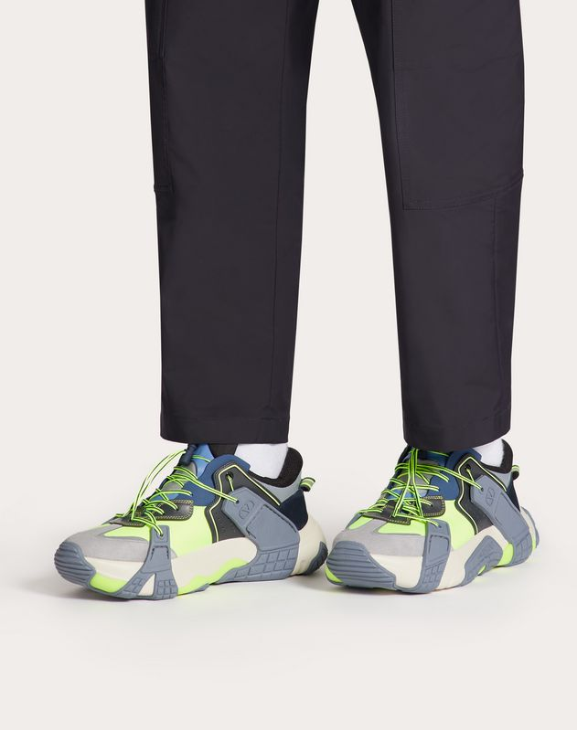 Sneakers VLTN Wod en tissu, veau et daim.
