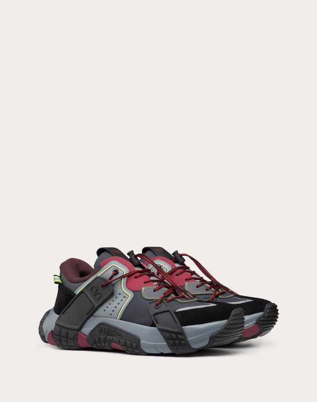 VLTN Wood Sneaker in Fabric, Calfskin and Suede