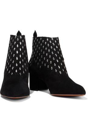Alaïa Boots ALAÏA WOMAN STUDDED LASER-CUT SUEDE ANKLE BOOTS BLACK