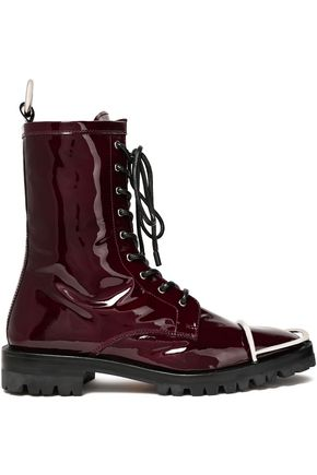 ALEXANDER WANG Kennah lace-up embellished patent-leather ankle boots