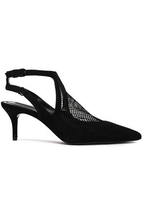 ALEXANDER WANG Cicile suede and mesh pumps
