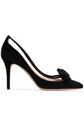VALENTINO GARAVANI حذاء بمب من المخمل مزين بمادّة بولي فينيل كلوريد