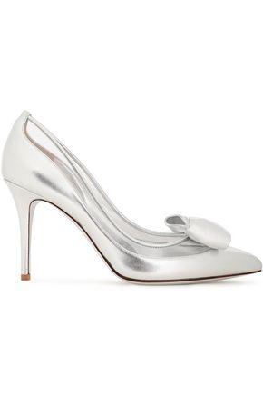 VALENTINO GARAVANI حذاء بمب من مادّة بولي فينيل كلوريد ومن الجلد اللامع مزين بعقدة فراشية