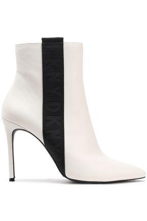 """DKNY حذاء بوت إلى الكاحل """"رانيتا"""" من الجلد مزين بقماش غروسغراين"""