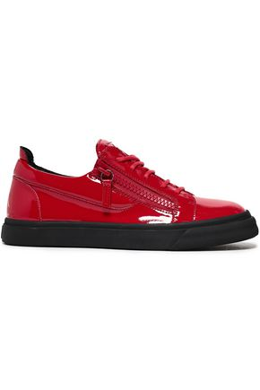 GIUSEPPE ZANOTTI Vernice zip-detailed patent-leather sneakers