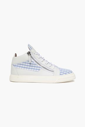 GIUSEPPE ZANOTTI Kriss leather and gingham cotton-twill high-top sneakers