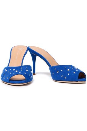 Giuseppe Zanotti Woman Crystal-Embellished Suede Mules Bright Blue