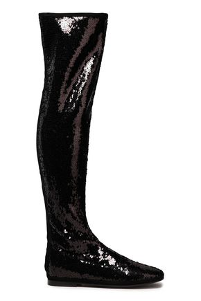GIUSEPPE ZANOTTI Cika sequined stretch-velvet over-the-knee boots